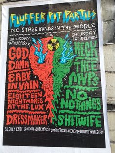 The return of cool design gig posters? Great band names! Shoreditch December 2015