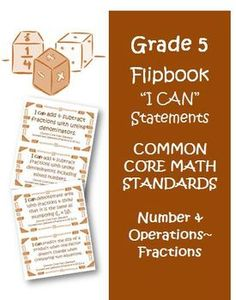 Fifth Grade Math Common Core Number and Operations Fractions I Can Cards! $