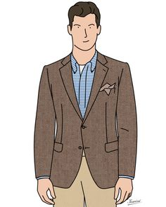 Veste sport en chevron, chino beige, chemise à carreaux, pochette et maillot de corps Brown herringbone jacket, chino trousers, check shirt, handkerchief and t-shirt