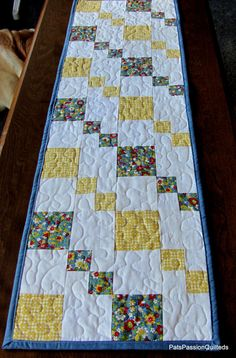 Country Patchwork Quilted Table Runner Blue by PatsPassionQuilteds, $40.00