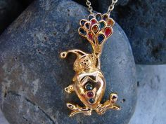 Vintage gold clown necklace