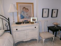 Bedroom ~ nightstand painted in two colors of Annie Sloan chalk paint; fancy dining chair gone shabby chic