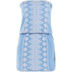 Melissa Odabash Amber Bandeau Dress ($200) ❤ liked on Polyvore featuring dresses, blue, blue slip dress, slimming slip, strapless bandeau dress, blue strapless dress and slim fit dress