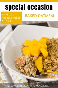 This Special Occasion Baked Oatmeal is perfect for kids and company! It's a THM Crossover and is free of refined sugar. Gluten, dairy, and nut free options Thm Recipes, Cream Recipes, Fall Recipes, Cooking Recipes, Christmas Recipes, Thomas Recipe, Baked Oatmeal Recipes, Baked Oats, Trim Healthy Mama Plan