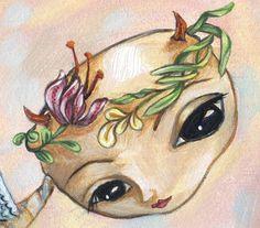 Broken: Angel In the Garden - Pop Folk Surrealism Print - by Heather Renaux-unframed Ladybug Rocks, Nature Tree, Frame Sizes, Frame Shop, All Print, My Images, Surrealism, Original Paintings, Folk