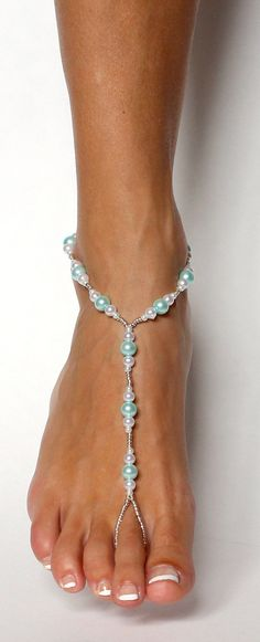 Light Blue Pearl and Beads Barefoot Sandals Bridal by BareSandals
