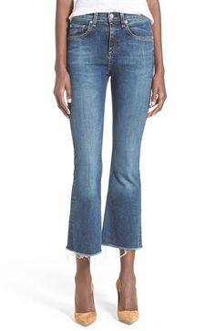 Must. have.now.  rag & bone/JEAN High Rise Raw Edge Crop Flare Jeans (Paz) available at #Nordstrom