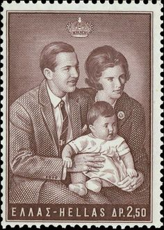 Stamp: King and Queen with Princess Alexia (Greece) (Greek Kings and Queens) Mi:GR 952 Ex Yougoslavie, Greek Royalty, Greek Royal Family, Frederick William, King Solomon, Postage Stamp Art, Greek Culture, Greece Wedding, Stamp Collecting