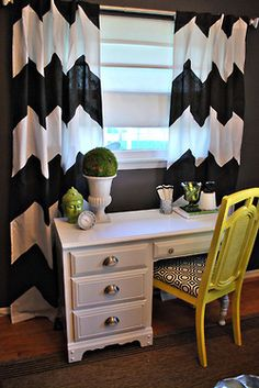 black and yellow home office (chevron curtains)