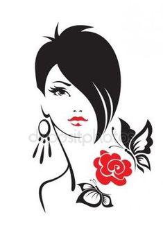 Black and white illustration of elegant woman - Arte - Silhouette Art, Black And White Illustration, Black And White Portraits, Easy Drawings, Fashion Sketches, Black Art, Doodle Art, Female Art, Art Girl