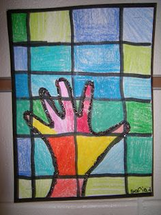 In Art class, 2nd graders reviewed the lines horizontal, vertical and curved. They used a ruler to help draw the horizontal and vertical lines that you see. Next, 2rd graders traced their hand to get curved lines. Students also reviewed the warm colors (red, orange, yellow) and cool colors (blue, green, purple) while coloring their artworks.