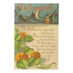 Pumpkin Vines Jack O Lantern Witch Black Cat Wood Print