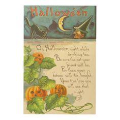 Pumpkin Vines Jack O Lantern Witch Black Cat Wood Print