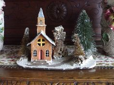 Vintage Putz House Church Coconut Fiber Scene Snowy Bottle Brush Trees Musical