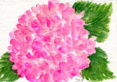 ACEO Pink Hydrangea Watercolors Paintings Original, Hydrangea Art Card hydrangea painting, ACEO cat card, miniature painting by SharonFosterArt on Etsy