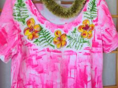 Kauai Hawaii Hand Painted Women's Cotton A Line by PetrinaBlakely, $50.00.  New hot pink with hand drawn plumeria and fern lei.  oooh la la!