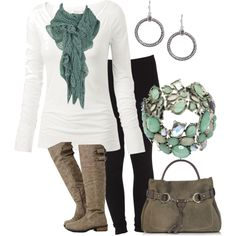 """Scarf & A Tee"" by rootsandrenovations on Polyvore"