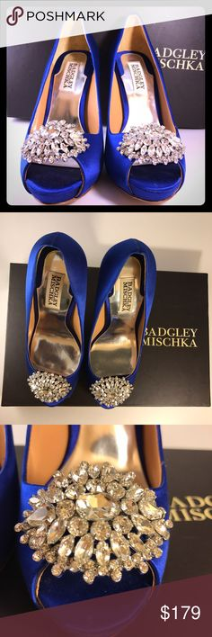 Cobalt jeweled stiletto by Badgley Mischka Preloved satin peep toe stiletto. Rich cobalt blue by Badgley Mischka. Wore it once for my sisters wedding and is still in excellent condition! No defects but the bottom is darken from wear. Comes with box but unfortunately I misplaced the dust bag. No missing jewels but does come with extra jewels and heel replacement. Would be perfect as a wedding shoe! Badgley Mischka Shoes Heels