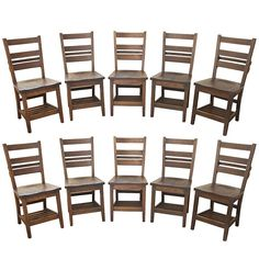 Ten Ladderback Dining Chairs