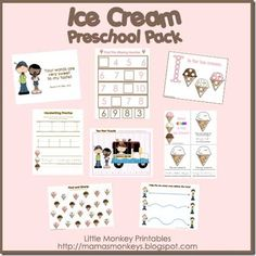 ice cream preschool printables