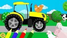 Домашние животные и их детки, цвета, тракторы. Развивающие мультики для ...