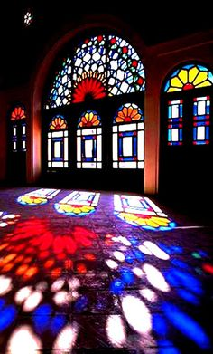 Architecture Persian Art of light & colors Kashan - Iran Architecture Persian Art of light & colors Leaded Glass, Stained Glass Art, Stained Glass Windows, Mosaic Glass, Islamic Architecture, Art And Architecture, Beautiful Architecture, Church Windows, Glass Marbles