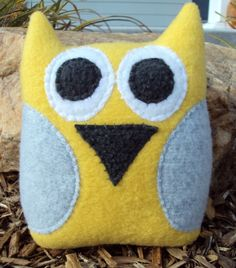 Yellow and Gray Plush Owl Pillow  Yellow and Grey Owl  by tzburps, $14.00