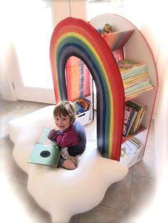 Reading rainbow with personal cloud pillow to sit on - @Janine Morgan do you think Tones would be able to make something like this for the girls?? Maybe Emylee's birthday present this year??