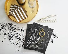 New Year's Eve Download - 2015 New Year's Eve Party Sign - New Years Party Decor - Happy New Year Digital Printable 8x10 - Chalkboard Art