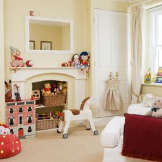 Love the way they used the fireplace for this girls room.
