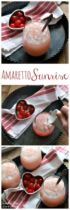 Amaretto Sunrise – a deliciously sweet cocktail made with amaretto, triple sec & grenadine! Amaretto Sunrise – a deliciously sweet cocktail made with amaretto, triple sec & grenadine! Sweet Cocktails, Fancy Drinks, Cocktail Drinks, Cocktail Recipes, Alcoholic Drinks, Cocktail Glass, Cocktail Amaretto, Amaretto Drinks, Tequila Drinks