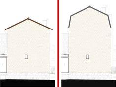Schéma d'une surélévation et une toiture mansardée pour gagner 30m2