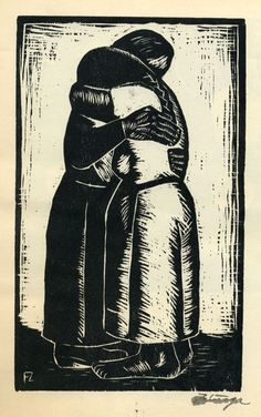 Abrazo from the portfolio Grabados en Madera - Woodcut by Francisco Zuniga Tampons, Religious Art, Woodblock Print, Line Drawing, Art Forms, Creative Art, Illustrations Posters, Printmaking, Paper Art