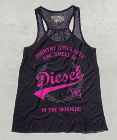 Take a look at the Country Girl Black & Hot Pink 'Love Diesel' Racerback Tank on #zulily today!