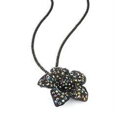 Flower Pendant Fashion Necklace Black & Ab Crystal