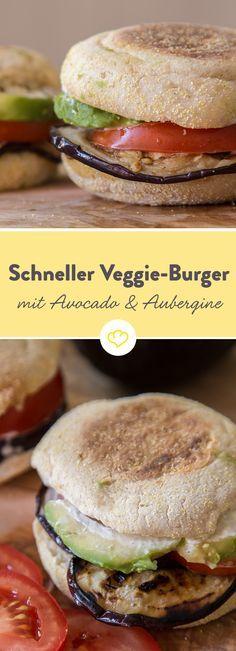 Toastbrötchen aufgebacken, Aubergine gebraten, alles mit leckerer Sauce aufgetürmt und fertig ist der vegetarische Leckerbissen. (Healthy Recipes Avocado)