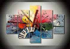 Abstract Painting, 5 Piece Canvas Painting, Electronic Organ Painting, Violin Painting - Silvia Home Craft American Art, Hand Painting Art, Violin Painting, Painting, Abstract Wall Art, 5 Piece Canvas Art, Abstract, Canvas Painting, Large Canvas Painting