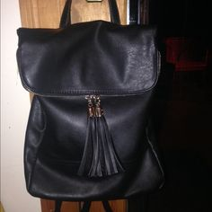Brandy melville black vegan leather backpack New bag, worn once, i love it but its too small for school unfortunately. Perfect condition. Vegan leather. I'll miss it but hope its new owner is very happy with it!! Brandy Melville Bags Backpacks