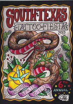 South Texas Tattoo Fiesta - 01 - 03 April 2016 - Pharr Events Center 3000 N Cage Pharr, TX 78577 United States Tattoo Art, Body Art Tattoos, Tatoos, Harlingen Texas, Chris Ware, Tattoo Posters, Texas Tattoos, Von Dutch, Tattoo People