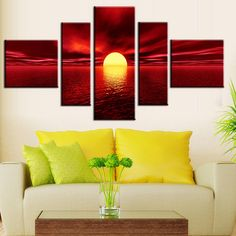 5 Panel Modern Art Painting Wall Art Picture Spray Paintings Sunset Red Sea Canvas Home Decorative Wall Art Pictures, Pictures To Paint, Ocean Canvas, Beach Canvas, Interior Design Books, Metal Tree Wall Art, Modern Art Paintings, Canvas Home, Canvas Canvas
