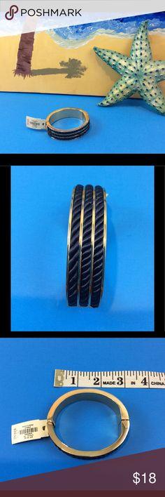 "TALBOTS "" Navy Blue"" Bracelet NWT GOLD w/Three Navy Blue twisted ropes embellishing the Bracelet. Talbots Jewelry Bracelets"