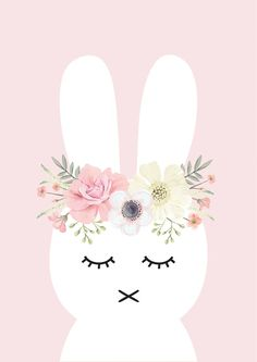 Pink Flower Bunny Print