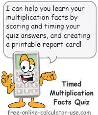 Free Online Timed Multiplication Quiz for math facts test drills.