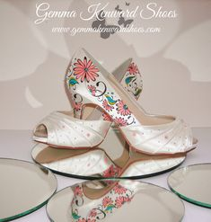 Hand painted wedding shoes and occasion shoes Gemma Kenward has painted for customers all over the world. Yellow Wedding Shoes, Silver Wedding Shoes, Cinderella Pumpkin Carriage, Occasion Shoes, Shoe Gallery, Hand Painted Shoes, Shoe Company, Bride Shoes, Beauty And The Beast