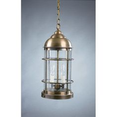 Northeast Lantern Nautical 2 Light Outdoor Hanging Lantern Finish: Raw Brass, Shade Type: Clear Seedy