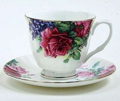 Red English Rose Bone China Tea Cup (Teacup) and Saucer - Bone China Tea Cups and Saucers - Roses And Teacups Tea Cup Set, My Cup Of Tea, Cup And Saucer Set, Tea Cup Saucer, Tea Sets, Bone China Tea Cups, Teapots And Cups, Fine Porcelain, Painted Porcelain