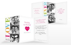"Wedding invitation ""Love"", simple and colourful."