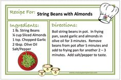 STRING BEANS WITH ALMONDS Recipes - CREATING A SIMPLER LIFE