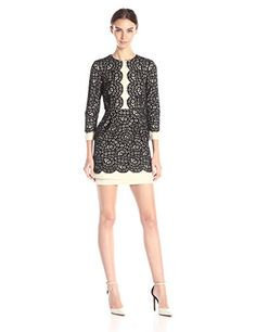 BCBGMax Azria Womens Elyssa Lace Blocked Cocktail Dress Black Combo 6 * Check out the image by visiting the link.