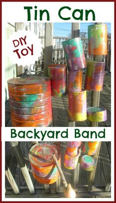 Make an outdoor music center for your kids using tin cans.  Simple, frugal,  and lots of fun!  Could be neat to do along the back fence by the playground!!!